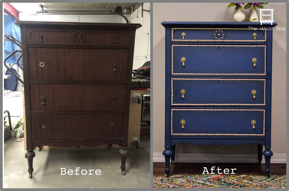 The Wood Spa By Pat RiosPainted Furniture, Vintageantique, Chest Of Drawer,  Furniture Makeover, Gold Hardware, Home Decor, Living Room Decor, Marine  Blue, ...