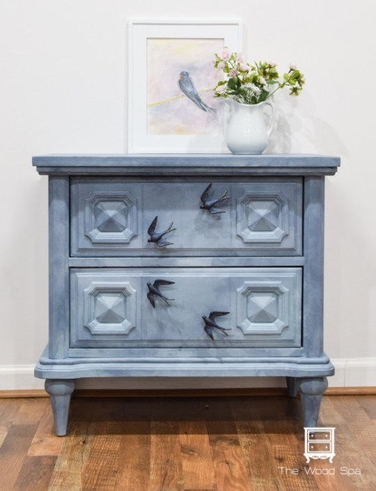 Sky and Birds nightstand - The Wood Spa-1-0