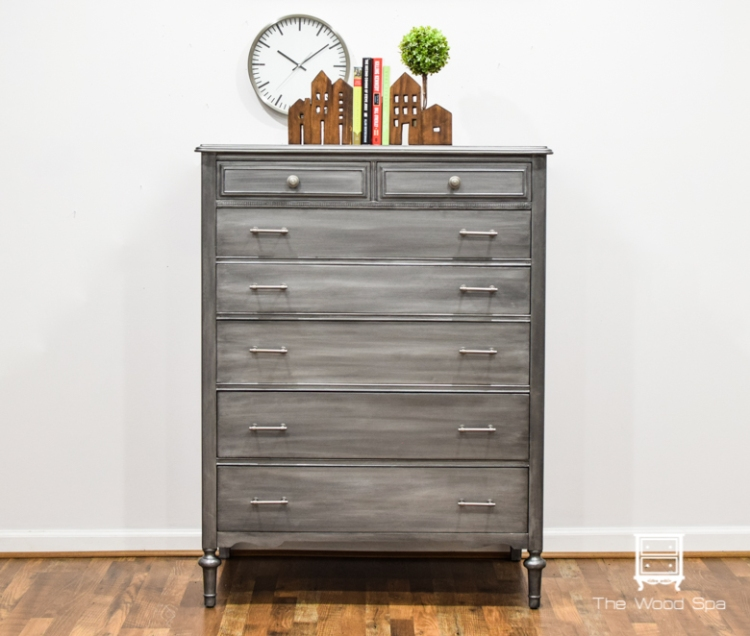 The Wood Spa - Gray Silver Chest of Drawers-1-1
