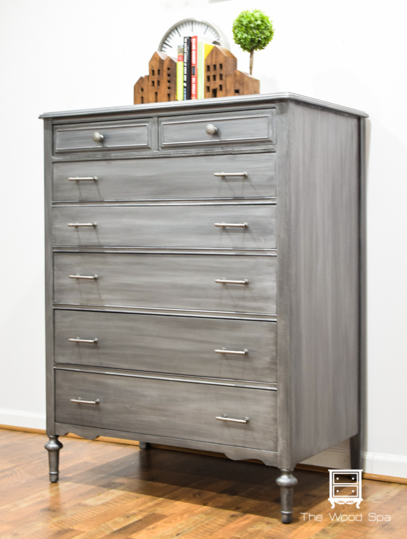 The Wood Spa - Gray Silver Chest of Drawers-1-2