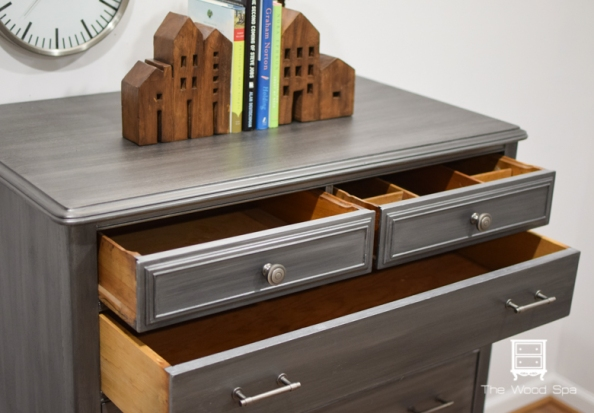 The Wood Spa - Gray Silver Chest of Drawers-1-5