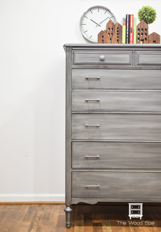 The Wood Spa - Gray Silver Chest of Drawers-1-6