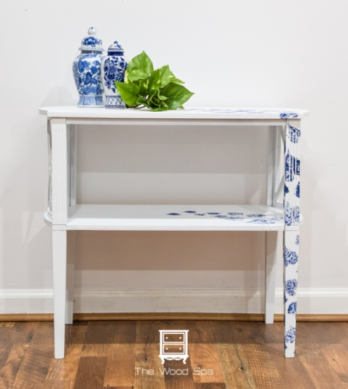 White and blue side table-1-1