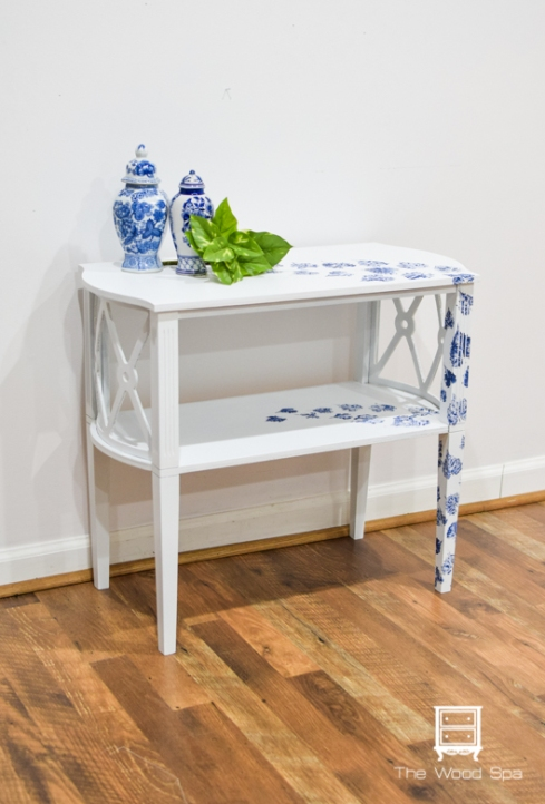 White and blue side table-1-2