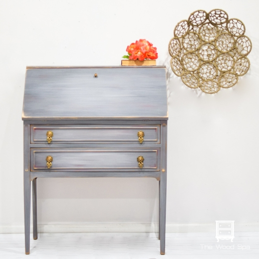 Gray Secretary Desk-1-1