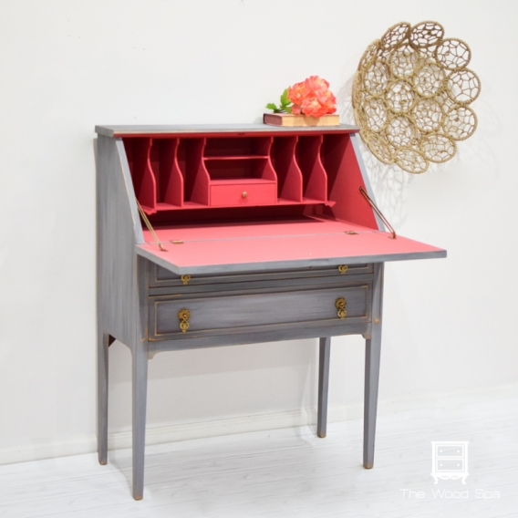 Gray Secretary Desk-1-3